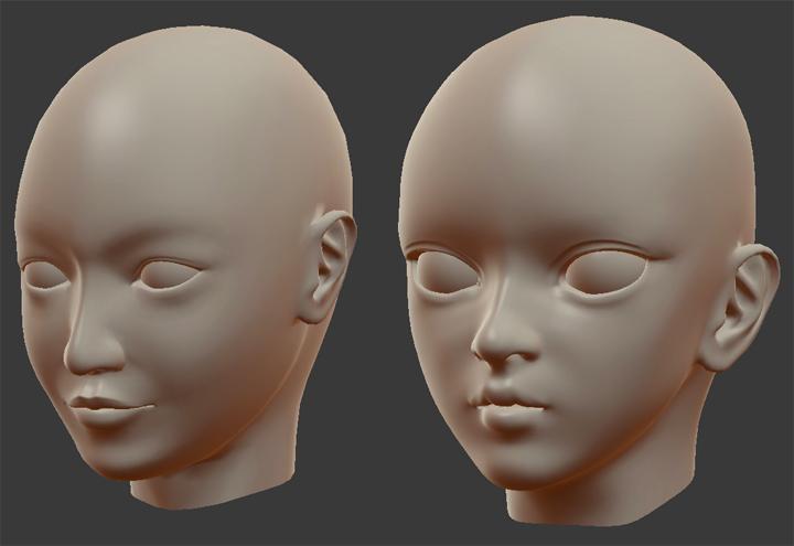 顔のモデリング 新旧比較